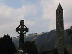 High Cross Glendalough with  St Kevin's  Round Tower