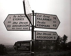 Gaelic Irish words on signpost